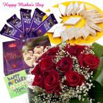 Roses and Sweets - 12 Red Roses, Kaju Katli 250 gms, Haldiram Soan Papdi 250 gms, 5 Dairy Milk 40 gms each and Card