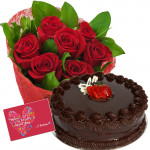 Awesome Cake Combo - 12 Red Roses Bunch + 1/2kg Cake + Card