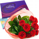 Filled With Love - 20 Red Roses + Cadbury's Celebrations Pack + Card