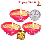 Round Diya - 3 Round Shaped Diyas with Laxmi-Ganesha Coin