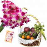 Royal Fruit Combo - 6 Purple Orchids Bouquet, 2 Kg Mix Fruits in Baket and Card