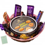 Royal Gift Basket -  Danish Butter Cookies, 1 5 Star, 1 Mars, 1 Twix, 1 Cadbury Dairy Milk Crackle, 3 Cadbury Dairy Milk Silk, 1 Snickers & Card