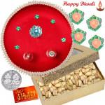 Royal Pista Thali - Pistachio 200 gms, Puja Thali (R) with 4 Diyas and Laxmi-Ganesha Coin
