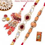 Set of 3 Rakhis - Lumba with American Diamond and Sandalwood Rakhis