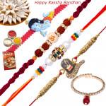 Set of 5 Rakhis - Auspicious, Mauli, Rudraksha, Lumba and Kids Rakhis