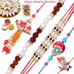 Set of 5 Rakhis - Bracelet with Lumba, American Diamond, Fancy and Kids Rakhis