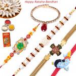 Set of 5 Rakhis - Golden Plated with Pearl, Zardosi, Lumba and Kids Rakhi