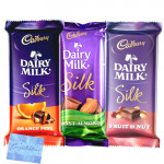 Silk Hamper - Cadbury Dairy Milk Silk Fruit & Nut, Cadbury Dairy Milk Silk Chocolate, Cadbury Dairy Milk Silk Roast Almond & Card