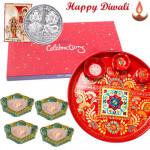 """Attractive Combo - Meenakari Thali 6"""", Celebrations with 4 Diyas and Laxmi-Ganesha Coin"""