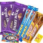 Simply Chocolaty - 2 Perk, 2 Five Star, Gems, 2 Dairy Milk & Card