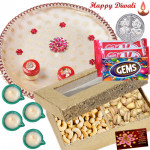 Special Dry Thali - Puja Thali (W), Cashew Pista 200 gms in Box, 2 Kitkat , 1 Gems with 4 Diyas and Laxmi-Ganesha Coin