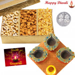 Special Dryfruits Combo - Assorted Dryfruits 400 gms, 4 Diyas on Tray with Laxmi-Ganesha Coin