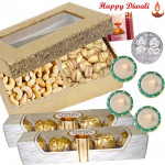 Special Dryfruits - 2 Ferrero Rocher 4 pcs, Cashew Pista 400 gms with 4 Diyas and Laxmi-Ganesha Coin