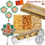 Special Nuts Hamper - Assorted Dryfruits 200 gms, Ferrero Rocher 4 pcs, Ganesha Door Hanging with 4 Diyas and Laxmi-Ganesha Coin