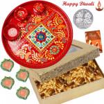 Special Nuts Thali - Walnuts 200 gms, Meenakari Thali 6 inch with 4 Diyas and Laxmi-Ganesha Coin