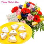 Specially for Mom - 10 Roses & Gerberas, 500 gms Kaju Pista Pan and Card