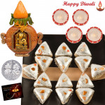 Spiritual Gift - Kalash Ganesha, Kaju Pan with 4 Diyas and Laxmi-Ganesha Coin