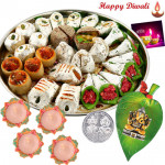 Spiritual Hamper - Ganesha On Leaf, Assorted Kaju Sweets with 4 Diyas and Laxmi-Ganesha Coin