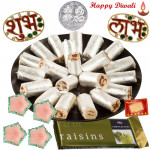 Sweet Deepavali - Kaju Anjeer Roll 250 gms, Cadbury Temptation, Diamond Shubh Labh with 4 Diyas and Laxmi-Ganesha Coin
