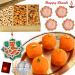 Sweet Delight - Boondi Laddoo 250 gms, Assorted Dryfruits 200 gms, Ganesha Door Hanging with 4 Diyas and Laxmi-Ganesha Coin