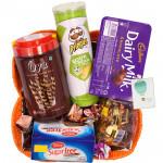 Sweet Gift Basket -  Sugarfree Cookies, Oya Chocolate Wafer Stick, Pringles Wafers, Dairy Milk Chocolates Pack, Swiss Gold Coin Box, Handmade Chocolates, Truffles Toffee & Card