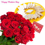 Sweet Love - 12 Red roses with 500gm Kaju katli and Card
