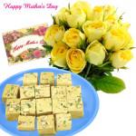 Sweet Mother - 15 Yellow Roses, 1 kg Haldiram Soan Papdi and Card