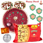 Sweet Treat Thali - Haldiram Soan Papdi 250 gms, Puja thali (M), Diamond Shubh Labh with 4 Diyas and Laxmi-Ganesha Coin
