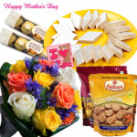 Sweet Treat - 20 Mix Roses, Kaju Katli 250 gms, 2 Packs Haldiram Namkeen, 2 Pack of Ferrero Rocher 4 pcs and Card