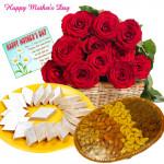 Sweet n Crunchy - 24 Red Roses in Basket, Kaju Katli 250 gms, Assorted Dryfruit 200 gms Basket and Card