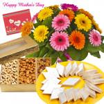 Sweet n Dry Fruits - 12 Mix Gerberas, 200 gms Assorted Dryfruit Box, 250 gms Kaju Katli and Card