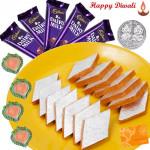 Sweets Delight - Kesar Katli 250 gms, 5 Dairy Milk Bars, 4 Diyas Laxmi-Ganesha Coin and Card