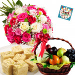 Sweets & Fruits - 20 Mix Roses Bouquet, 2 Kg Mix Fruits in Basket, Haldiram Soan Papdi 250 gms and Card
