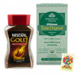 Tea Or Coffee - The Original Tulsi, Nescafe Gold Decaffeinated Rich Aroma Coffee and Card