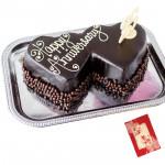 Double Heart Shaped Chocolate Cake 3 Kg + Card