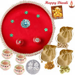 Total Delight - Puja Thali (R), 3 Dry Fruit Pouches with 4 Diyas and Laxmi-Ganesha Coin