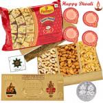 Total Treat - Haldiram Soan Papdi 250 gms, Assorted Dry Fruits 200 gms, 24 Carat Gold Plated Dhan Laxmi Varsha Note with 4 Diyas and Laxmi-Ganesha Coin