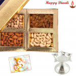 Traditional Diyas - Silver Diya 10 gms, Assorted Dry Fruits