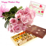 Treat for Mom - Bunch of 12 pink roses, 1 kg assorted sweets and Card