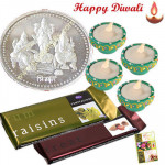 Trimurti Hamper - Silver Trimurti Coin 10gms, 2 Temptations with 4 Diyas