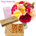 U R Special - 15 Mix Roses in Vase, 200 Gms Assorted Dryfruits Box and Card