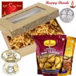 Walnuts Hamper - Walnuts, 2 Haldiram Namkeen, Silver Diya 10 gms with Laxmi-Ganesha Coin