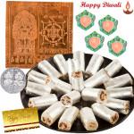 Yantra Hamper - Copper Sri Kuber Yantra, Anjir Rolls with 4 Diyas and Laxmi-Ganesha Coin