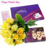 Yellow Treat - 12 Yellow Roses in Bunch, Celebrations, Haldiram Soan Papdi 250 gms and Card