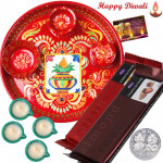 Yummy Choco Thali - 2 Temptations, Meenakri Thali 6 inch with 4 Diyas and Laxmi-Ganesha Coin