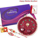 Yummy Chocolate Thali - Celebrations, Puja Thali (M) with 2 Fancy Rakhis and Roli-Chawal