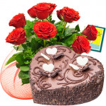 Yummy Treat - Bunch Of 12 Red Roses + 1 Kg Heart Shaped Chocolate Cake + Card