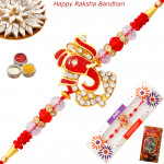 Auspicious Ganesha with Diamonds Rakhi