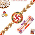 Traditional Swastik Golden Rakhi