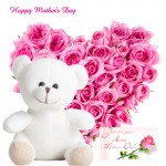 "Adoring Pink - Heart Shape Arrangement of 25 Pink Roses, Pink Teddy 6"" and Card"